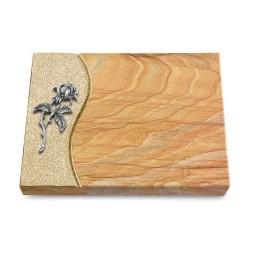 Grabtafel Omega Marmor Wave Rose 2 (Alu)