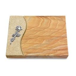 Grabtafel Omega Marmor Wave Rose 7 (Alu)