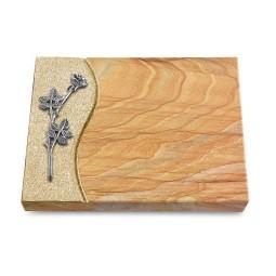 Grabtafel Omega Marmor Wave Rose 9 (Alu)