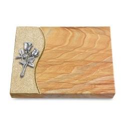 Grabtafel Omega Marmor Wave Rose 11 (Alu)