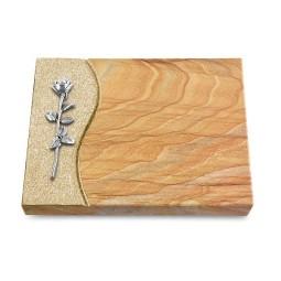 Grabtafel Omega Marmor Wave Rose 12 (Alu)