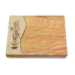 Grabtafel Omega Marmor Wave Ähren 2 (Bronze)
