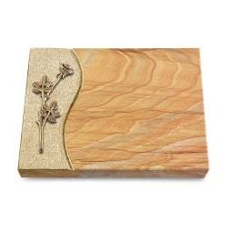 Grabtafel Omega Marmor Wave Rose 9 (Bronze)