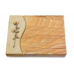 Grabtafel Omega Marmor Wave Rose 12 (Bronze)