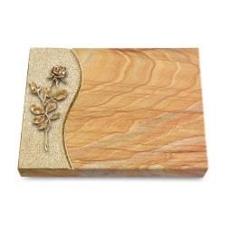 Grabtafel Omega Marmor Wave Rose 13 (Bronze)