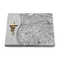 Grabtafel Paradiso Wave Kreuz/Rose (Bronze)