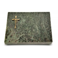 Grabtafel Tropical Green Pure Kreuz/Ähren (Bronze)