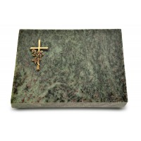 Grabtafel Tropical Green Pure Kreuz/Rose (Bronze)