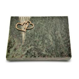 Grabtafel Tropical Green Delta Herzen (Bronze)