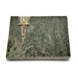 Grabtafel Tropical Green Delta Kreuz/Ähren (Bronze)