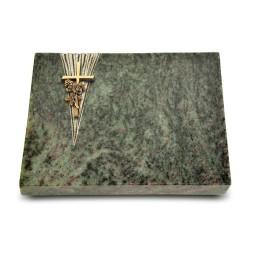 Grabtafel Tropical Green Delta Kreuz/Rose (Bronze)