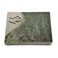 Grabtafel Tropical Green Folio Herzen (Alu)