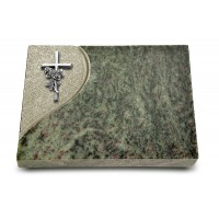 Grabtafel Tropical Green Folio Kreuz/Rose (Alu)