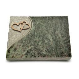 Grabtafel Tropical Green Folio Herzen (Bronze)