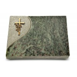Grabtafel Tropical Green Folio Kreuz/Rose (Bronze)