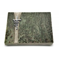 Grabtafel Tropical Green Strikt Kreuz/Rose (Alu)