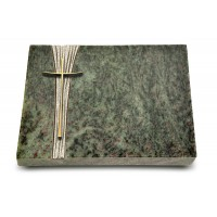 Grabtafel Tropical Green Strikt Kreuz 2 (Bronze)