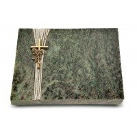 Grabtafel Tropical Green Strikt Kreuz/Rose (Bronze)