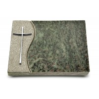Grabtafel Tropical Green Wave Kreuz 2 (Alu)