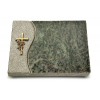 Grabtafel Tropical Green Wave Kreuz/Rose (Bronze)